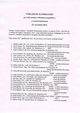 Zoznam kandidátov