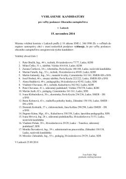 Vyhlásenie kandidatúry POSLANCI 1