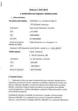 Zmluva č. 0101/2012 o zneškodňovaní odpadov