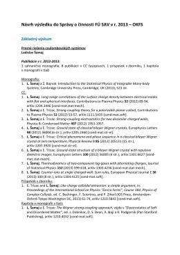 Návrh výsledku do Správy o činnosti FÚ SAV v r. 2013 – OKFS