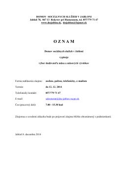 oznam2 - Domov sociálnych služieb Jabloň