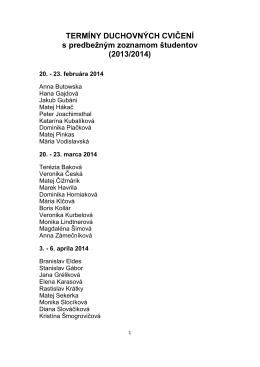 Zoznam studentov na DC 2014