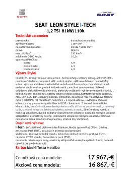 seat leon 5d style i-tech 1,2 tsi modrá metalíza