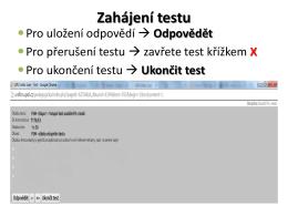 Zahájení testu