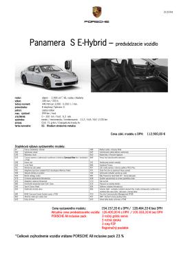 Panamera S E-Hybrid – predvádzacie vozidlo