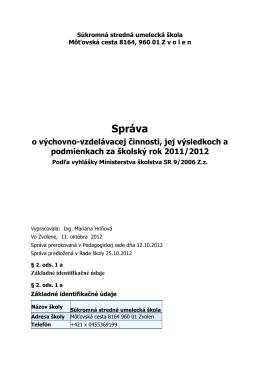 Záverečná správa 2011-2012 - Súkromná stredná umelecká škola