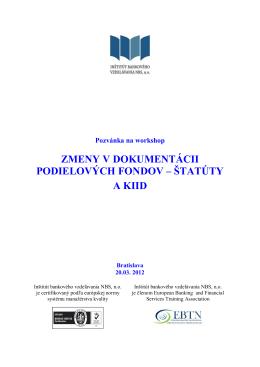 zmeny v dokumentácii podielových fondov – štatúty a kiid