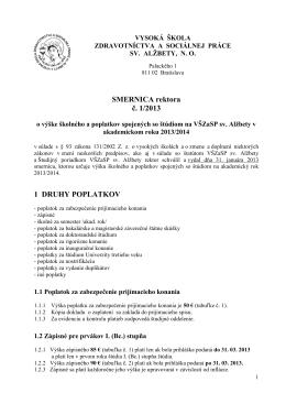 Smernica rektora o poplatkoch 13-14 návrh