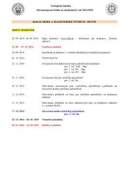 Harmonogram štúdia na akademický rok 2014/2015
