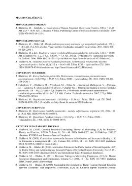 MARTINA BLAŠKOVÁ MONOGRAPHS FOREIGN 1. Blašková, M