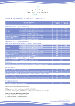 cenník vstupov - jeseň 2013 / jar 2014