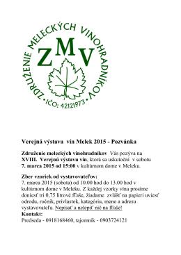 Verejná výstava vín Melek 2015 - Pozvánka - U