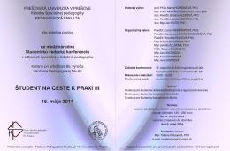 ŠTUDENT NA CESTE K PRAXI III - Katedra špeciálnej pedagogiky