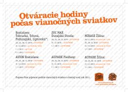 Bratislava: Tobrucká, Trhová, Podunajská, Liptovská