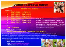 Denný športový Tábor 2013