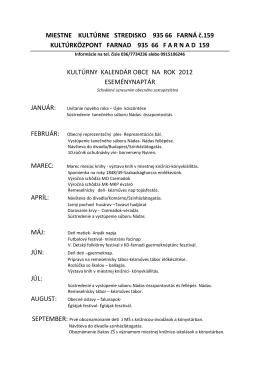 MIESTNE KULTÚRNE STREDISKO 935 66 FARNÁ č.159