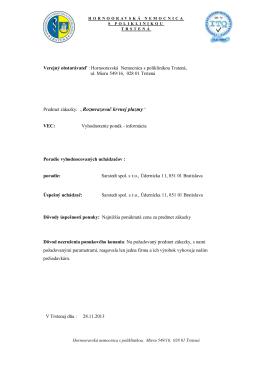 Informácia o výsledku vyhodnotenia ponúk_Rozmrazovaè krvnej