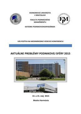 pozvanka na konferenciu 2015 - Fakulta podnikového manažmentu