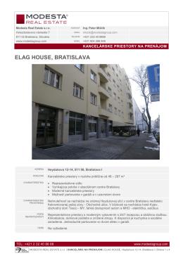 ELAG HOUSE, BRATISLAVA - Modesta Real Estate Slovakia