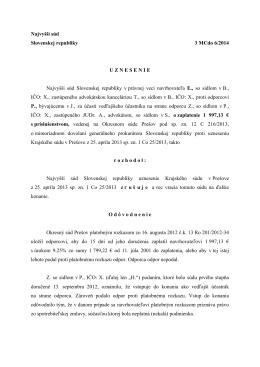 Najvyšší súd Slovenskej republiky 3 MCdo 6/2014
