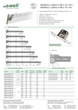 Metalbox s výškou h-86 a 15- mm / Metalbox s výškou h