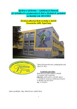 Správa o výchovno – vzdelávacej činnosti, jej výsledkoch a