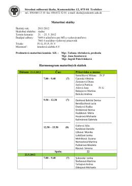 harmonogram / SJL - Stredná odborná škola Trebišov