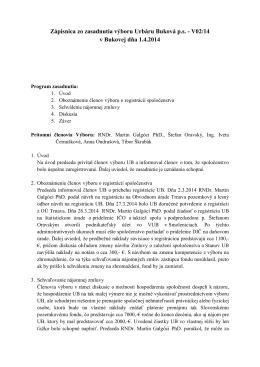 Zápisnica zo schôdze výboru 2/2014