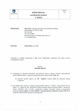 Kúpna zmluva s predkupným právom č. 2/2012
