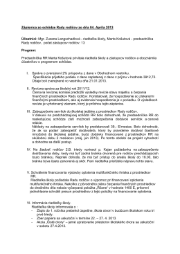 Zápisnica zo schôdze ZRPŠ zo dňa 18