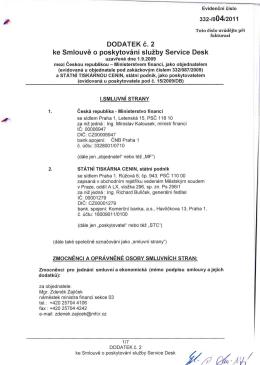 DODATEK 2 ke Smlouve o poskytovani sluzby Service Desk