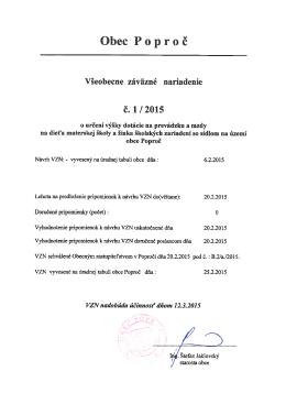 Všeobecne záväzné nariadenie obce Poproč č. 1/2015 o určení