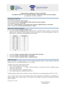 bilingválne štúdium (slovenské - anglické)