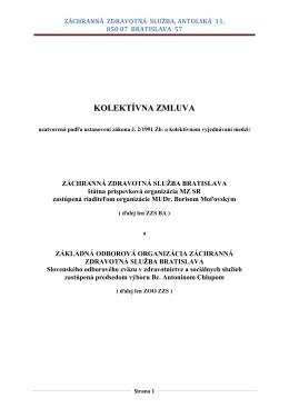 kolektívna zmluva - Záchranná zdravotná služba Bratislava