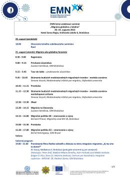Program vzdelávacieho semináru EMN Migrácia globálne a lokálne