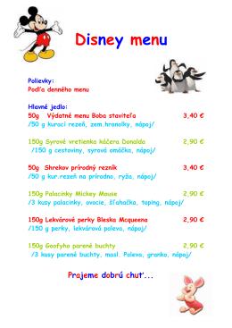 Detské disney menu - Hotel Športcentrum Bojnice
