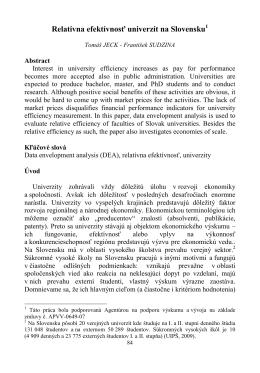 Relatívna efektívnosť univerzít na Slovensku1