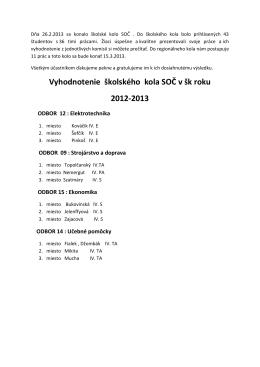 Vyhodnotenie školského kola SOČ v šk roku 2012-2013