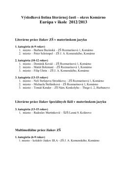 Výsledková listina OK EvŠ-literárne práce KN 1213