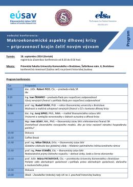 Program konferencie - Ekonomický ústav SAV