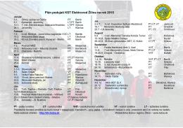 Plán podujatí KST Elektrovod Žilina na rok 2015