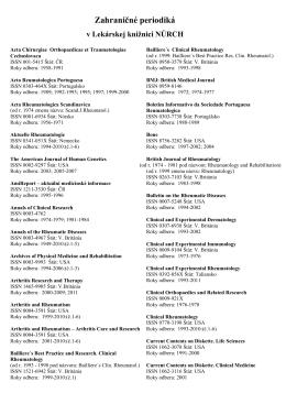 Zoznam zahraničných periodík v lekárskej knižnici NÚRCH