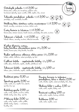 Ostrokyslá polievka 0,33l 2,00 eur Talianska paradajková