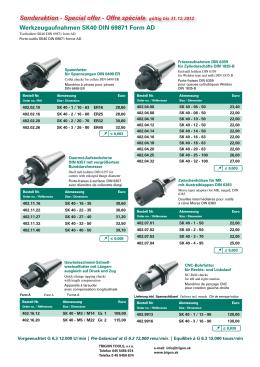 Werkzeugaufnahmen SK40 DIN 69871 Form AD