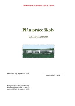 Plán práce školy - ZŠ Na bielenisku
