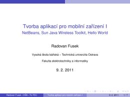Tvorba aplikacı pro mobilnı zarızenı I