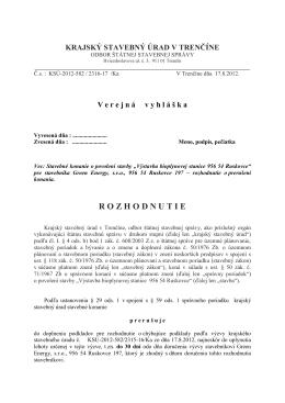 rozhodnutie - Krajský stavebný úrad v Trenčíne