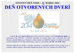 Deň otvorených dverí 20. a 21. marca 2014