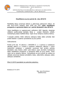 Klasifikácia za prvý polrok šk. roku 2014/15