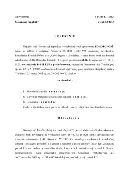 Najvyšší súd 6 ECdo 171/2013 Slovenskej